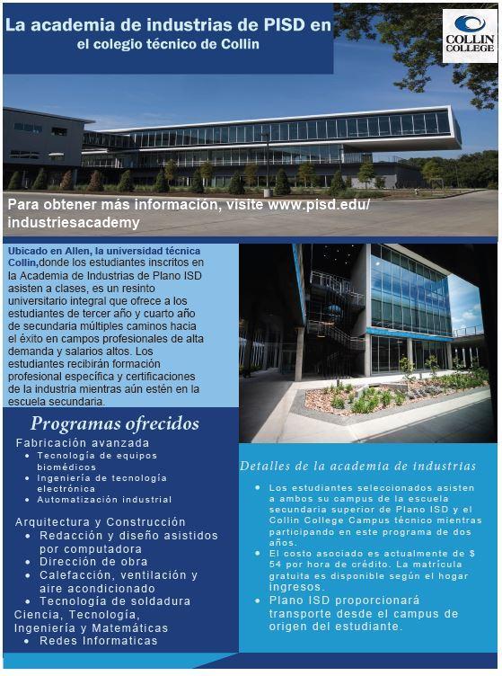 Academia de Industrias del distrito escolar de Plano en el Campus Técnico del Colegio Collin