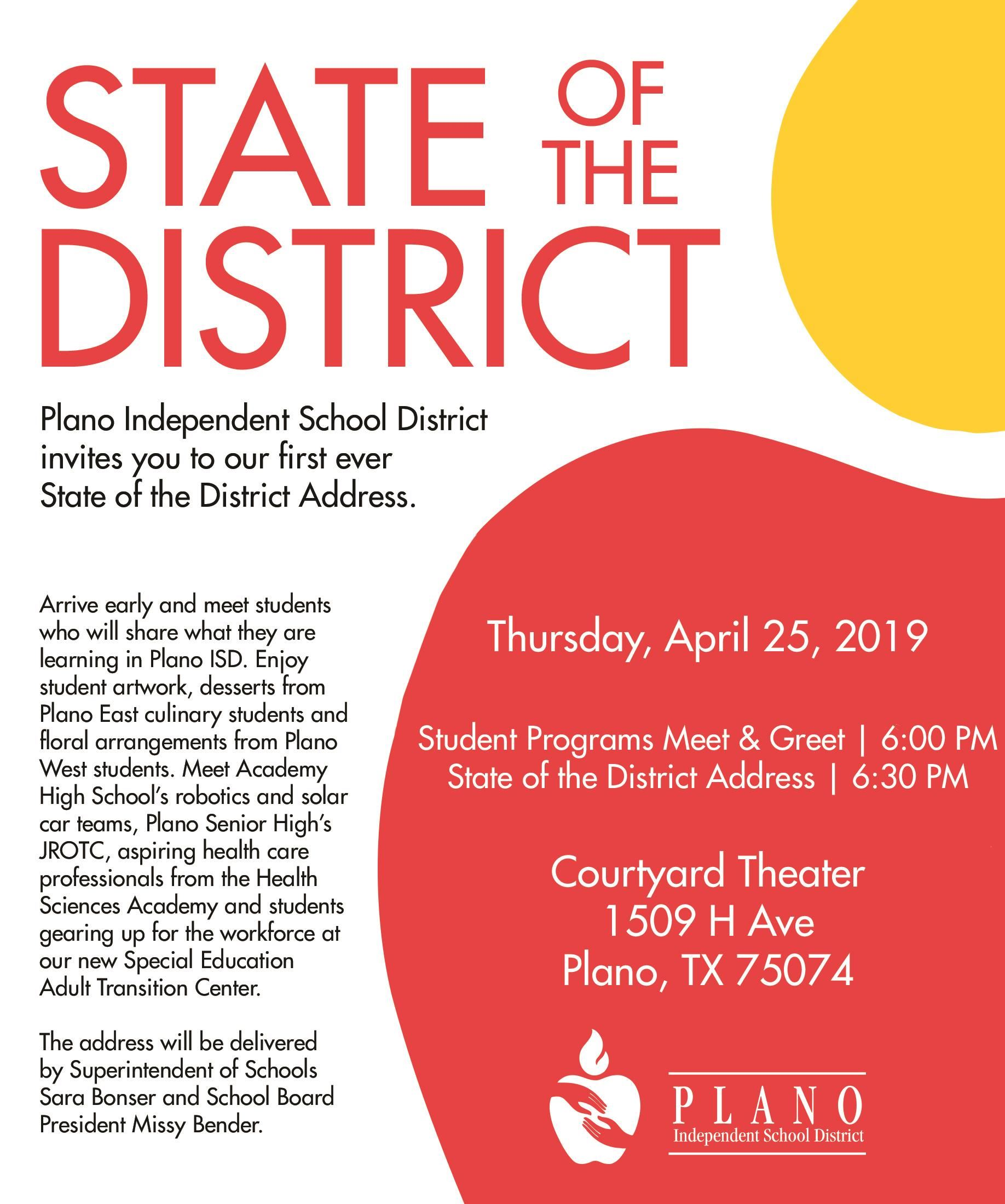 Plano ISD State of the District Address is April 25, 2019 at 6 PM at Courtyard Theater in Plano
