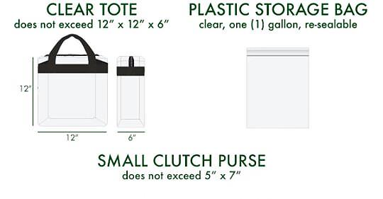 "12"" clear tote, plastic storage bag 1 gallon, small clutch purse 5""x7"""