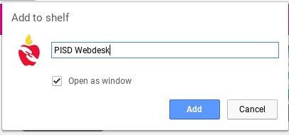 enter name of site to add to shelf