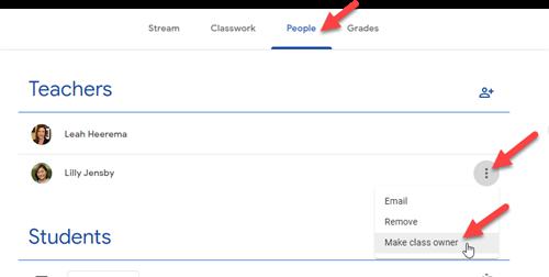 transfer ownership of google classroom