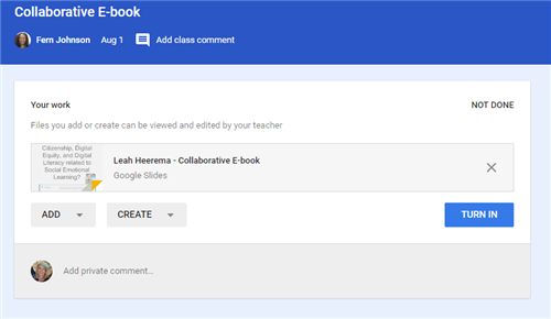 google classroom assignment screen with turn in button