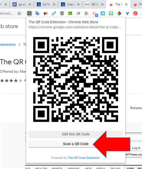 qr code scanner extension scan code