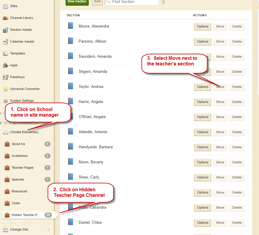 Moving Teacher Pages: Screenshot depicting steps 1 - 3 above.