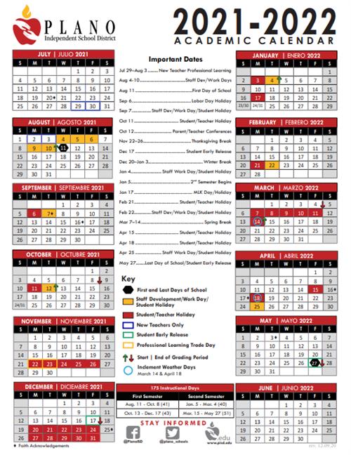 Pisd 2022 Calendar.2021 2022 Academic Calendar Approved