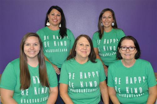 A picture of the office staff, Dara Villalpando, Katie Brittain, Stacey Davis, Mina Custer, Sandy Malik.