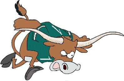 cartoon charging longhorn bull logo