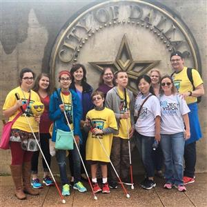 Visually Impaired students with teachers at White Cane Day in Dallas.