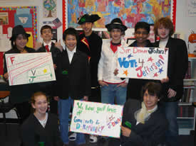 Middle school PACE students campaigning in a mock revolutionary-era election