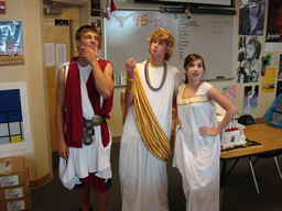 High school PACE students during a Sparta vs. Athens symposium