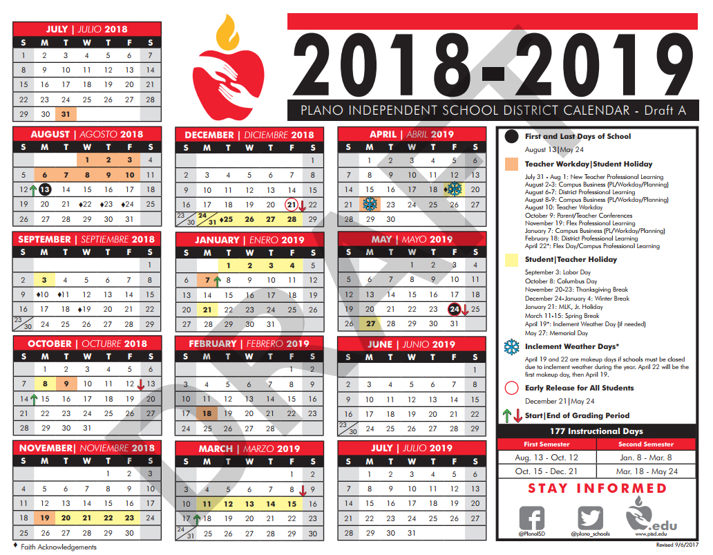 Sept. 18, 2017   2018 19 Calendar Drafts Survey
