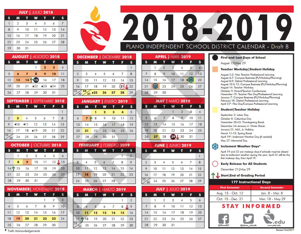 Pisd Calendar 2019 Sept. 18, 2017   2018 19 Calendar Drafts Survey