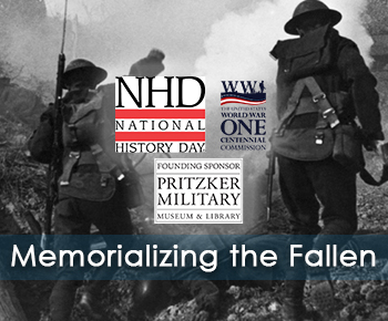 WWI soldiers and logos of NHD, WWI Centennial Commission and Pritzker Military Museum