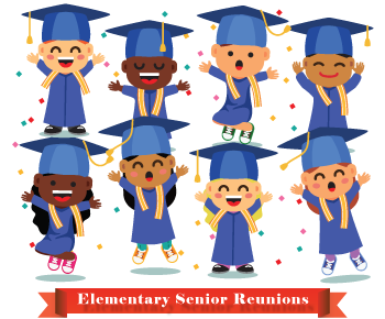 Cartoon image of young students in caps and gowns - celebrating