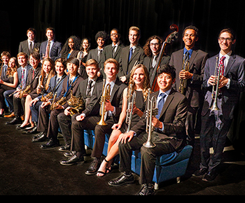 Plano West Jazz Band with instruments