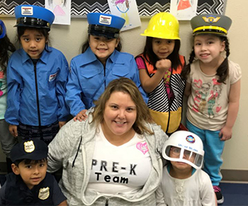 PreK students dressed up for career day with teachers