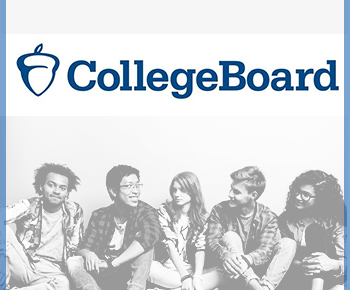 College Board logo and photo of a group of students