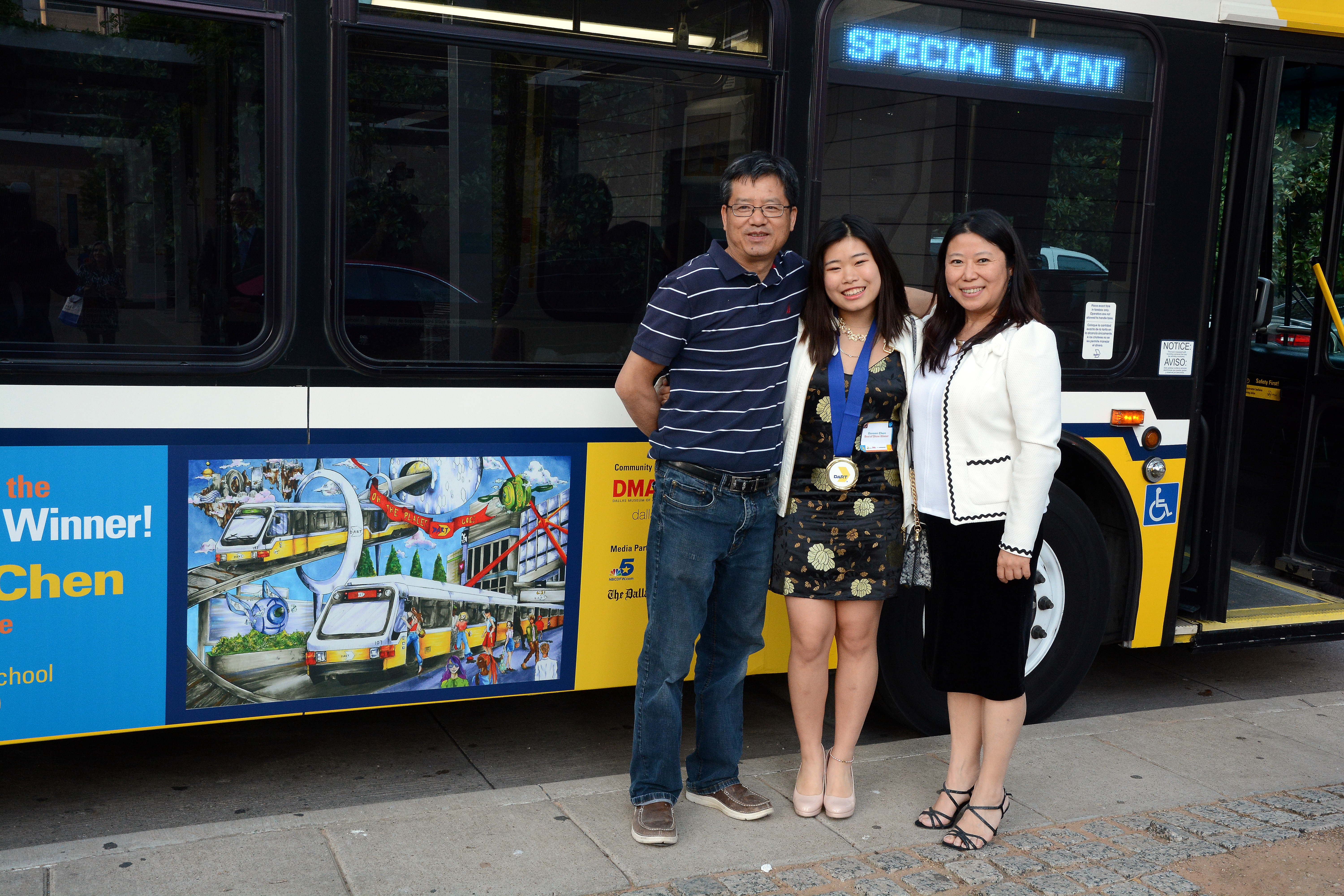 Doreen Chen art on bus & family
