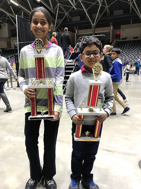 Anish Musthyala, Otto MS and Anish Musthyala, Gulledge ES with trophies