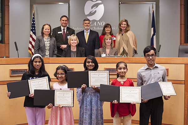 District spelling bee champions with the board of trustees