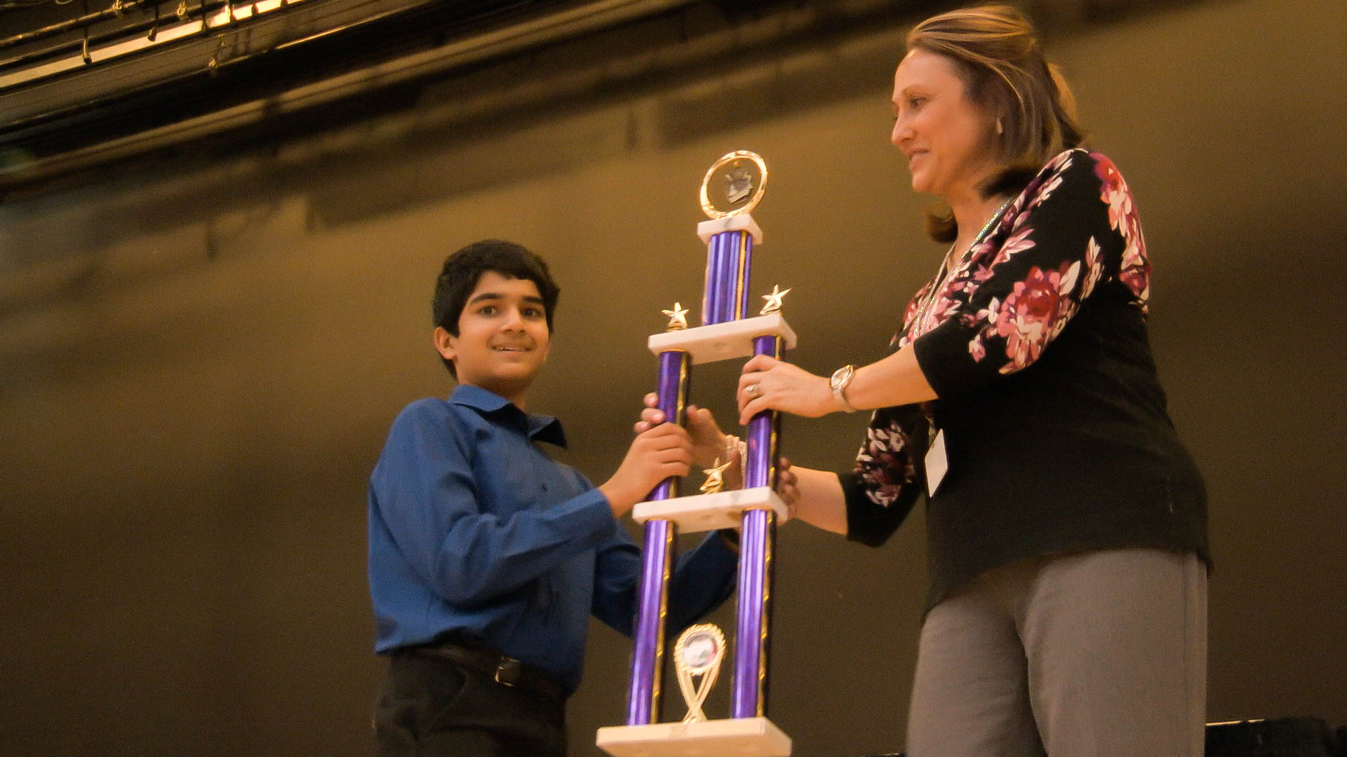 Harshal Bharatia, Wilson Middle School with trophy