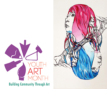Youth Art Month logo with Xinyu Ai artwork