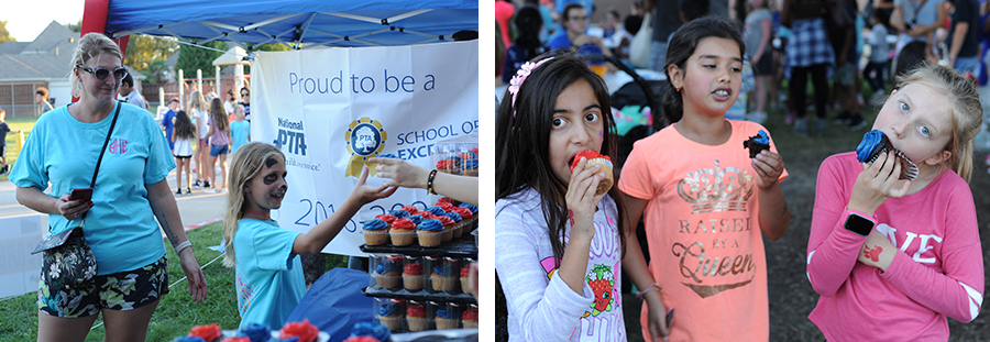 students eating cupcakes at celebration