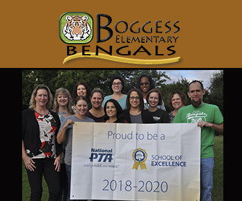 Boggess Elementary PTA and staff with National PTA banner