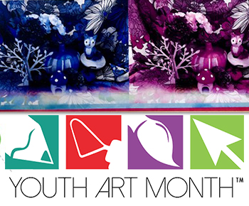 Youth Art Month logo with student work