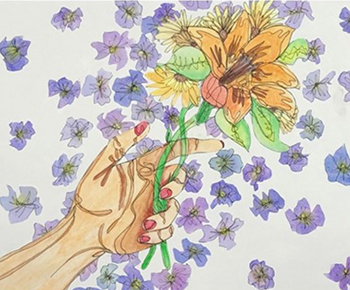 artwork: hand holding flowers