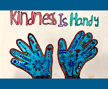 Student artwork: Kindness is handy (with hand drawing)