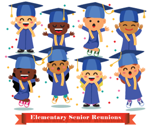graphic of grads smiling and jumping