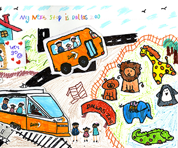 kindergarten artwork with Dart train and bus plus zoo animals