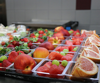 fresh fruit on cafeteria trays