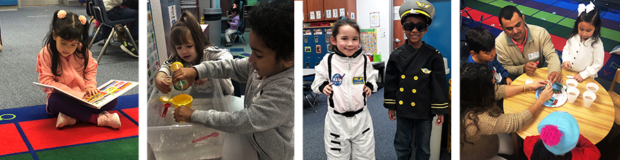 collage of pre-school students reading, in costume, tea party and science experiements