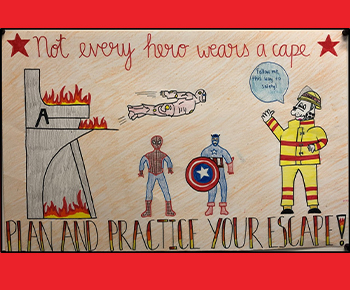 5th grade Artwork: superheros and Fire Prevention  Dalmation