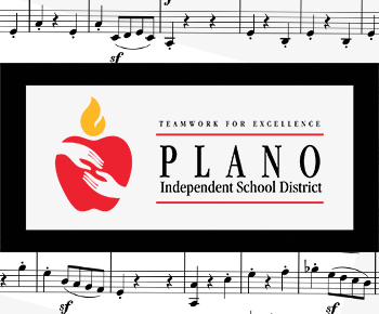 PISD Logo Teamwork for Excellence and musical notes background image
