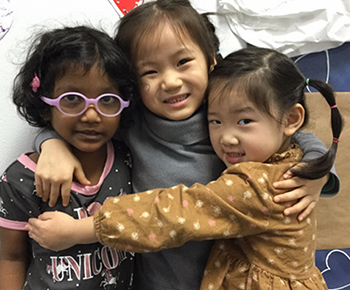 three prek girls on friendship day