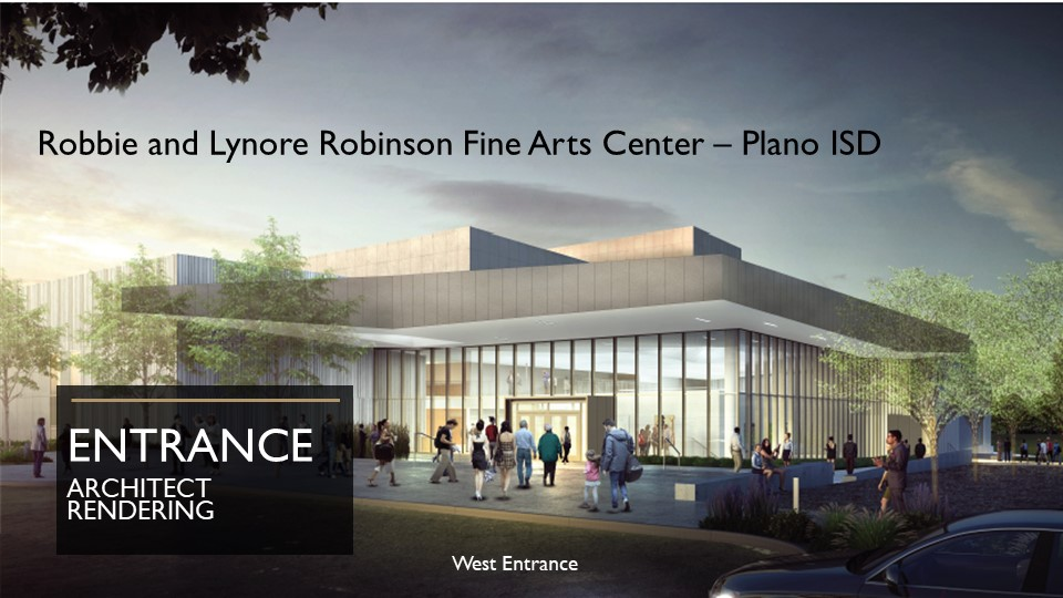 Fine arts center architect rendering of entrance