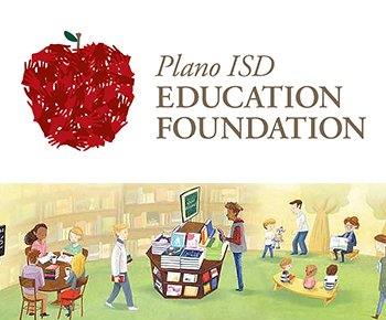 Plano ISD Education Foundation logo and bookstore graphic