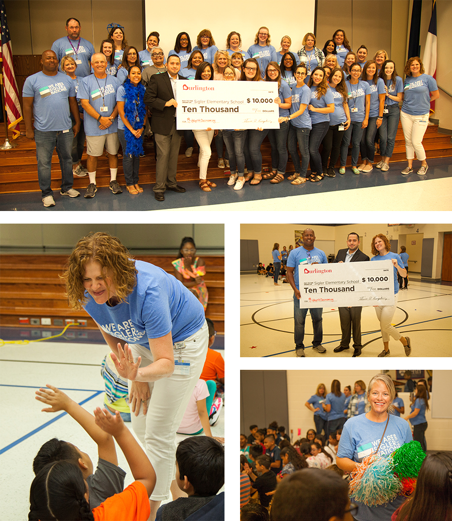 4 check presentation photos, group with check, principal with students, Hernan Mayorga Burlington & Sigler teacher