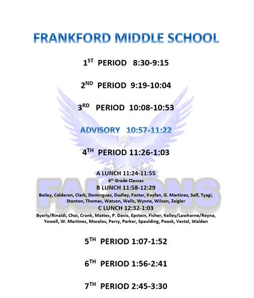 New Frankford Bell schedule for 2019
