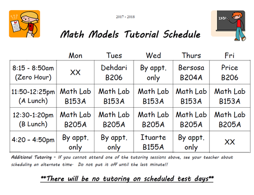 Math Models Tutoring Schedule