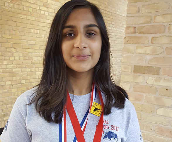 Sidhya Peddinti, Otto Middle School wearing medals for state win