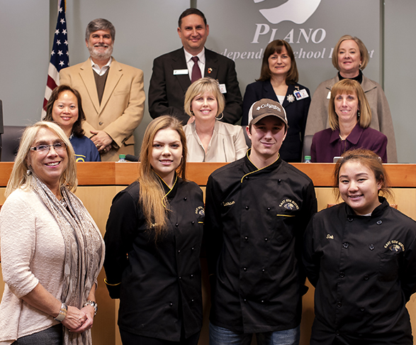 PESH Culinary Arts Student Winners with Plano ISD School Board