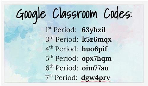 Google Classroom Codes for Students