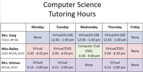 Tutorial Schedule for CS at PWSH