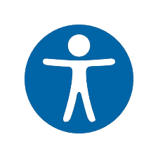 Accessibility icon - blue circle with cutout of person inside.