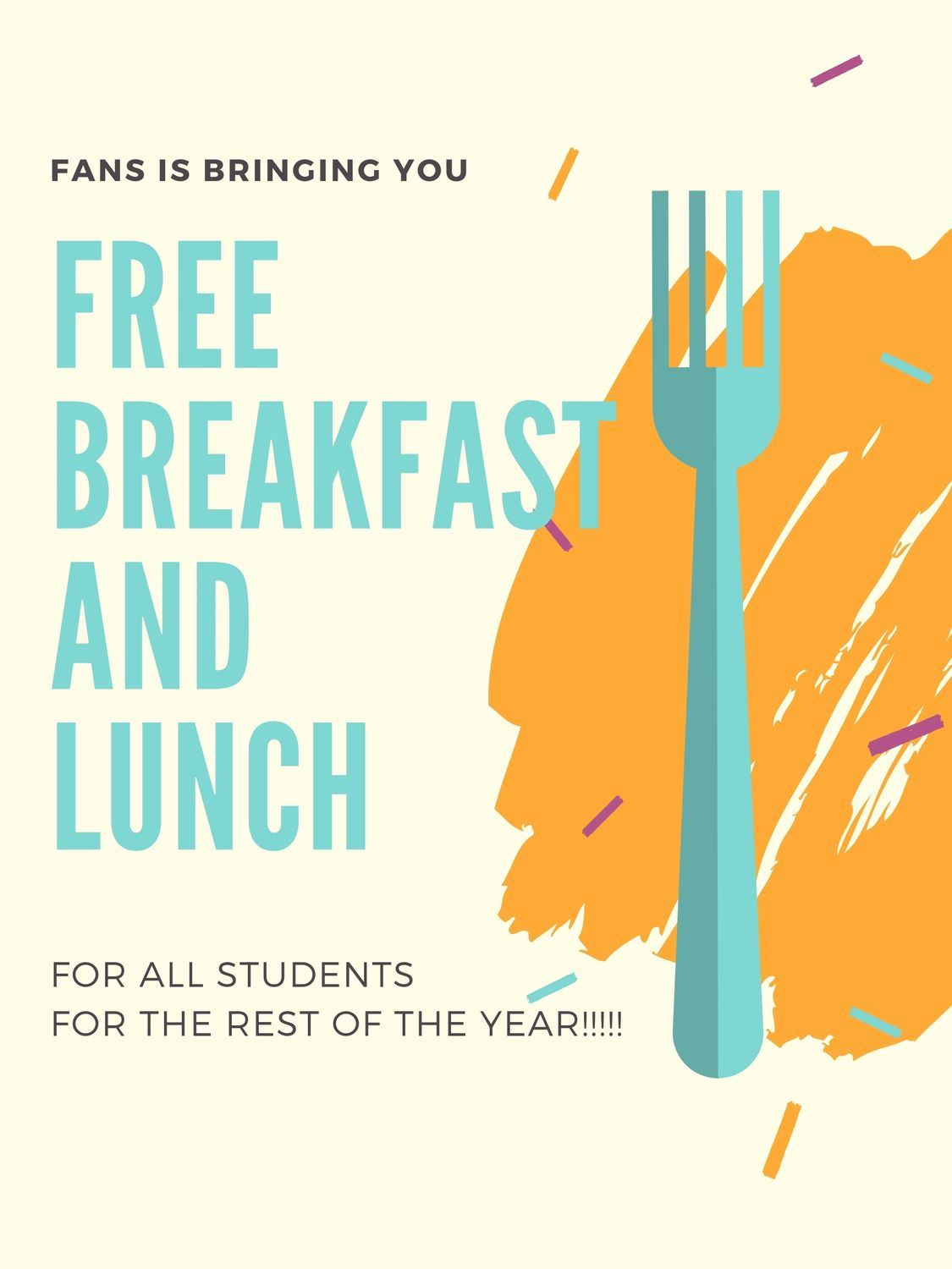 Image of a Fork with Information on Free Food for Students