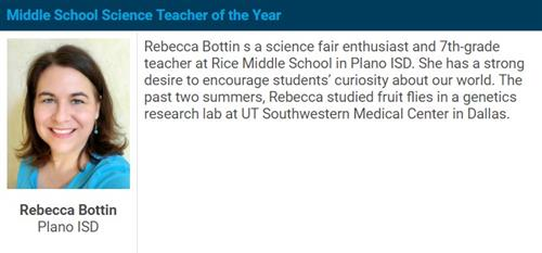 Middle School Science Teacher of the Year